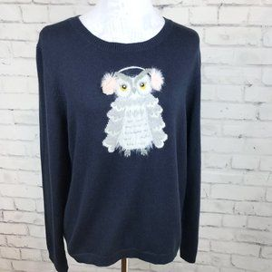 KATE SPADE Bloome Street Navy Blue Owl Sweater